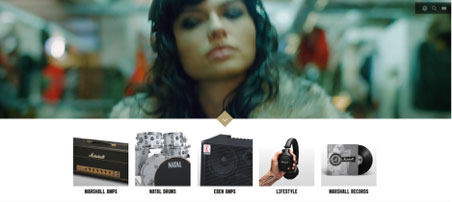Marshall Website Screenshot - What does Marshall's online musical instruments store feel like?